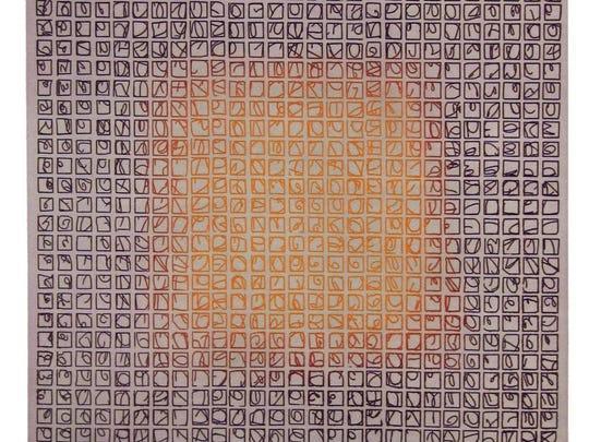 """""""Glyphs in Orange,"""" etching by Lynn Herring."""