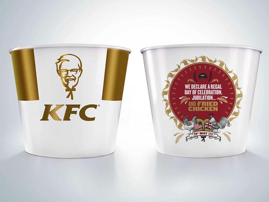 KFC has created a limited edition commemorative bucket to celebrate the Royal Wedding of Prince Harry and Meghan Markle. The royal wedding smorgasbord of merchandise includes Harry and Meghan Marmite, Royal Wedding ale, Wedding Rings cereal and a limited-edition bucket of royal wedding KFC chicken.