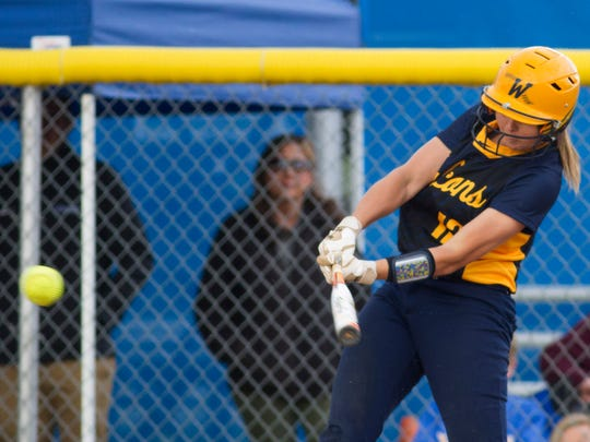 Whitnall's Sierra Grubor connects for a hit against New Berlin West during a WIAA softball playoff game on Tuesday, May 30, 2017 at New Berlin West High School.