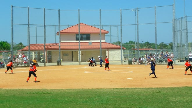 This softball game at Chain of Lakes Park in Titusville was part of the Cocoa Beach Spring Training/Space Coast Spring Training  events that bring teams to Brevard County.