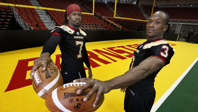 Iowa Barnstormers wide receivers Darius Reynolds (7) and Marco Thomas (3) were honored Thursday by the Arena Football League. Thomas was named to the first team, Reynolds to the second team.