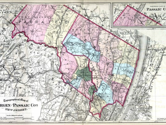 An 1872 map shows Bergen and Passaic Counties.