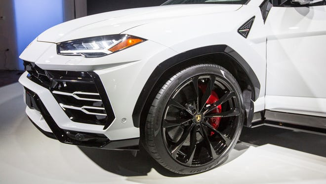 Driver side of the 2019 Lamborghini Urus SUV at the Museum of Contemporary Art Detroit in Detroit, Monday, Jan. 15, 2018.