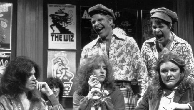 Frequent SNL host Steve Martin along with Dan Aykroyd, search for ÒfoxesÓ in a skit from the show. The women are, from the left; Gilda Radner, Laraine Newman, Jane Curtain