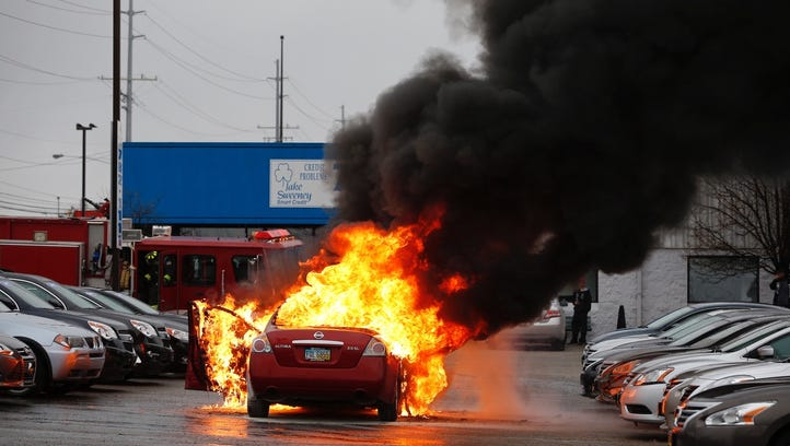 A car burst into flames at the Jake Sweeney used car lot on Kemper Road in Sharonville.