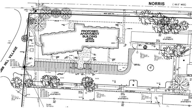 A map shows the location of a proposed apartment complex near Cobbs Hill Park.