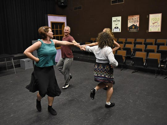 Central Minnesota Rhythm League rehearse Thursday for their upcoming performance as part of the Sod House Theater's 14-city tour around outstate Minnesota.