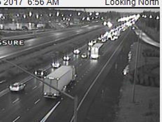 Traffic slowing for crash near Woodburn on I-5.
