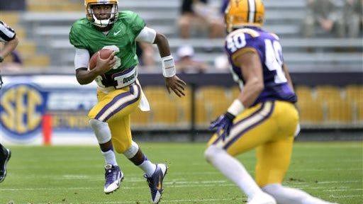 LSU quarterback Brandon Harris had a big passing day on Saturday in a spring scrimmage.