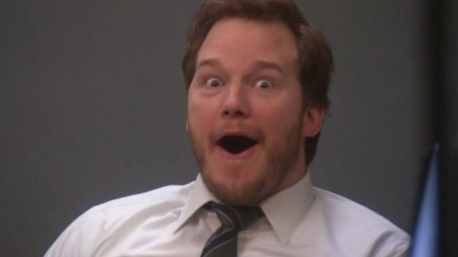 """Chris Pratt as Andy Dwyer, frontman of Mouse Rat in the TV show """"Parks and Recreation"""""""