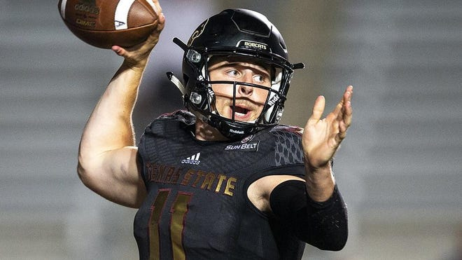 Texas State quarterback Tyler Vitt is one of four Bobcats who are being quarantined after contact tracing discovered they had been exposed to COVID-19. All four will be held out of Saturday's season opener.