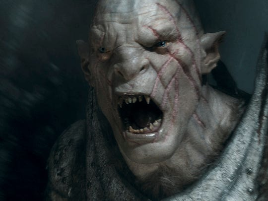 "Orc Azog, voiced by Manu Bennett, appears in a scene from ""The Hobbit: The Battle of the Five Armies."""