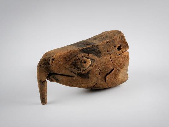 Carved sea turtle head