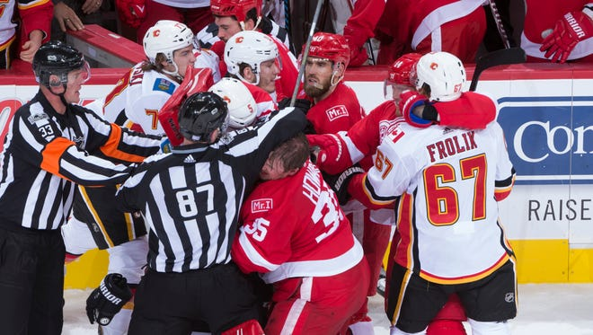 The two teams ended up with 12 penalties after a lengthy third-period fight.