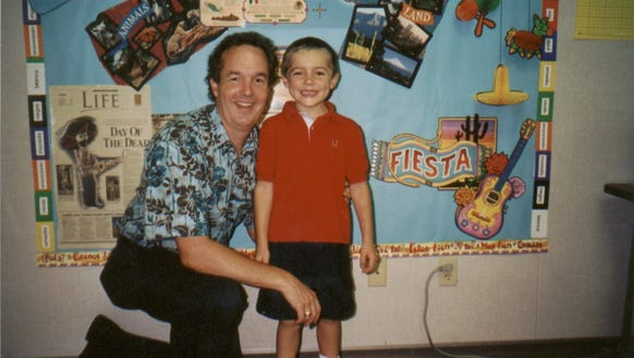 Father Scott Craven with his son, Bryson, at school in 2001.