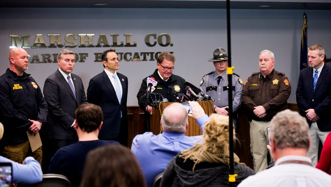 Emergency personnel, school board members and Gov. Matt Bevin speak during a news conference regarding the Marshall County High School shooting on Jan. 23, 2018.