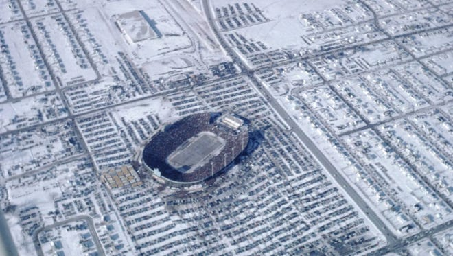 This photo of Lambeau Field on Dec. 31, 1967 was taken by Judy Michelson Ambelang from the passenger seat of a  Cessna 140 flown by Richard Jerow of Kaukauna.