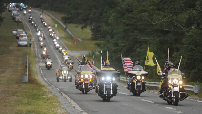 Patriot Guard riders lead hundreds of participants in the 2018 Big Nick's Ride for the Fallen from the Barnstable County Sheriff's Complex in Bourne en route to Dennis-Yarmouth Regional High School. Organizers of this year's ride, planned for Sunday, say adjustments have been made to account for coronavirus concerns.