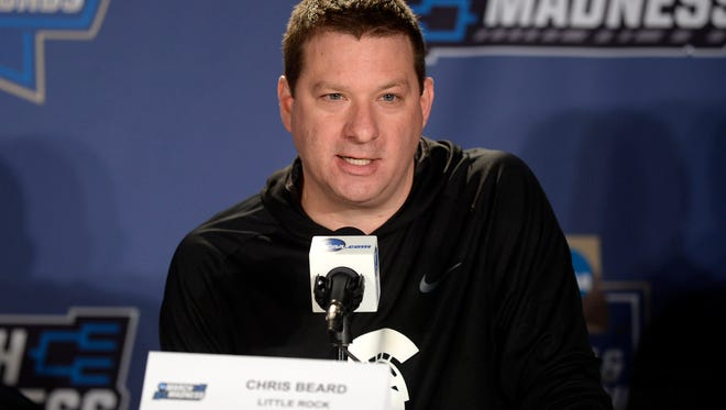 UALR Trojans head coach Chris Beard speaks to the media during a practice day before the first round of the NCAA men's college basketball tournament at Pepsi Center on March 16.