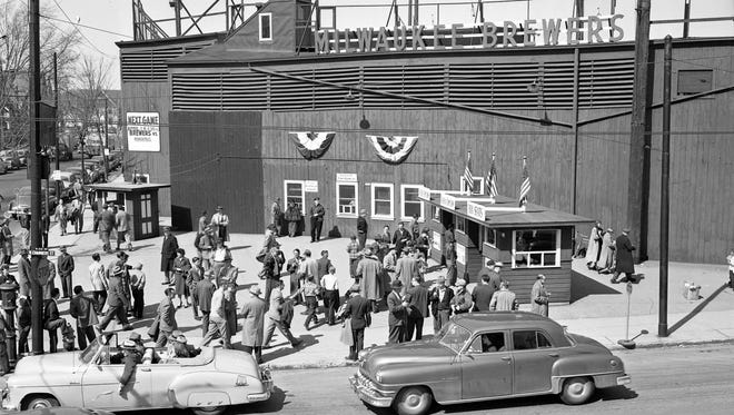 People lined up at the ticket booth on the last opening day at Borchert Field on April 16, 1952. Borchert Field, at 3000 N. 8th St., opened as Athletic Park in 1888.