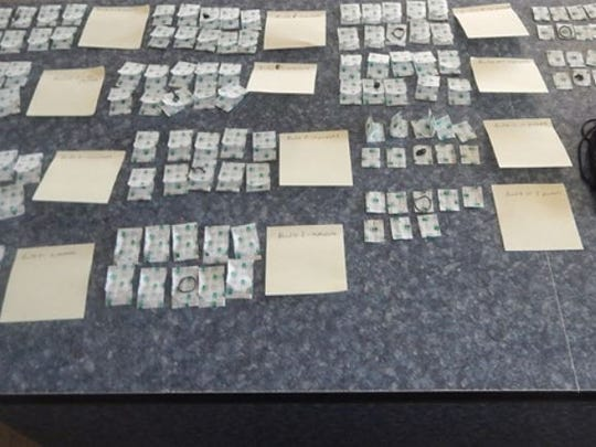 Drugs seized by Ohio Highway Patrol troopers during a traffic stop in Sandusky County.
