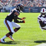 Buffalo Bills wide receiver Sammy Watkins (14) makes a catch against Chicago Bears cornerback Charles Tillman (33) during the first quarter at Soldier Field.