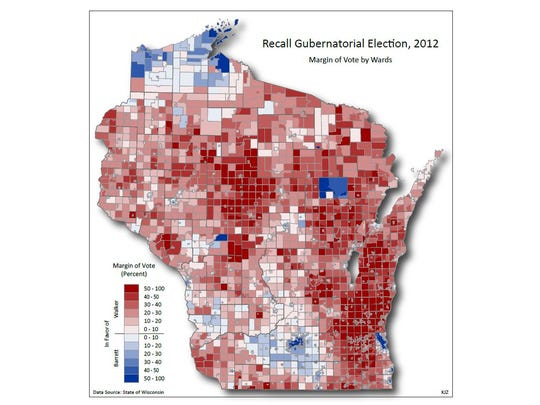 Results of the June 2012 Gubernatorial Recall Election by voting ward