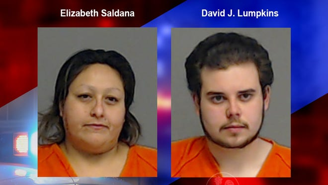 Mugshots of Elizabeth Saldana (left) and David J. Lumpkins (right) both arrested on narcotics related charges. Jan. 26 2018