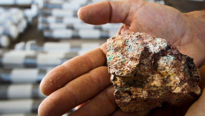 A sample of minerals taken from the Florence Copper project in 2011.