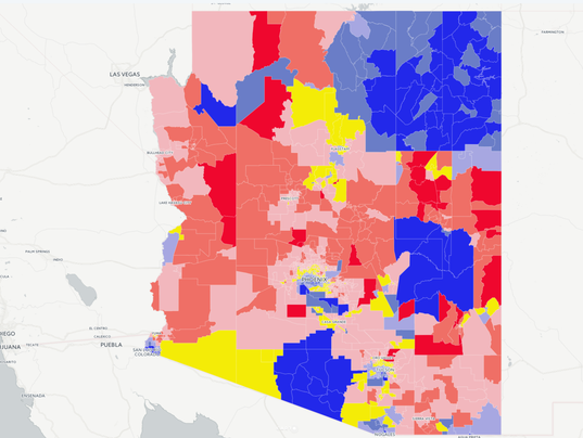 Map Making Arizona Blue Means Turning A Sea Of Red - 2016 us county red blue map