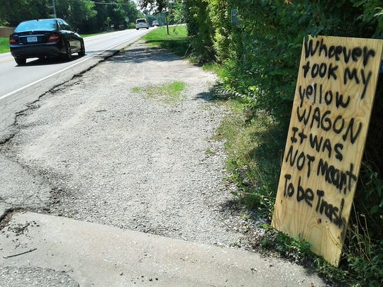 This low-tech, spray-painted roadside message along