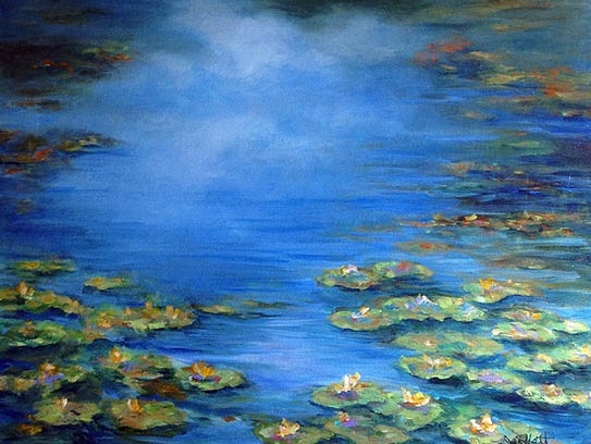 """Waterlilies,"" acrylic by Jan Moffatt."