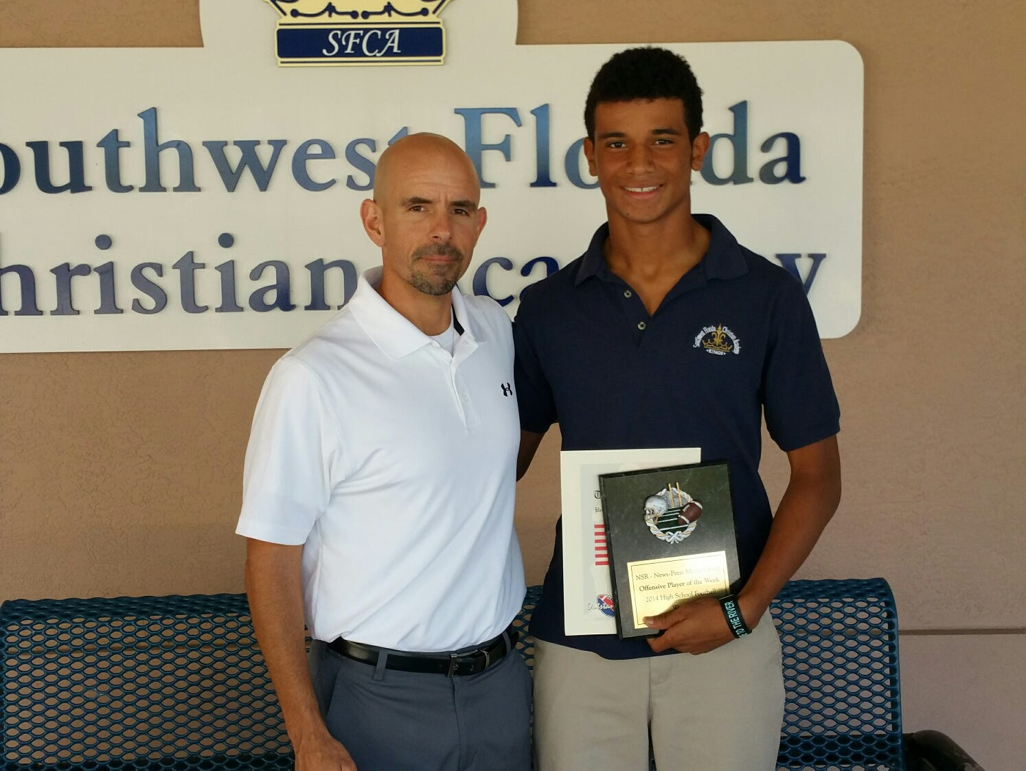 SFCA player Terrance DeAvila and coach Mike Marciano