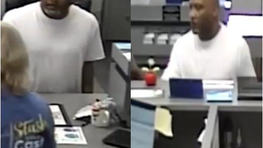 Police are looking for this man as a suspect of a bank robbery