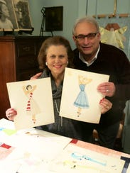 Rozann and Robert Frey with sketches by the late Karen