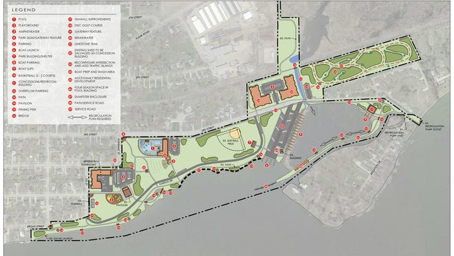 A new plan for Jefferson Park in Menasha  shows a new swimming pool and bathhouse, an amphitheater and a nine-hole disc golf course.
