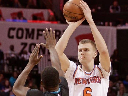 New York Knicks' Kristaps Porzingi.