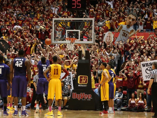 Hilton Magic went into effect as Kansas State's Marcus Foster fires a free-throw against Iowa State on Tuesday, Jan. 20, 2015, at Hilton Coliseum in Ames, Iowa.