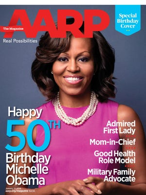 First lady Michelle Obama on a special mock the cover of AARP The Magazine to celebrate her 50th birthday, Jan. 17.