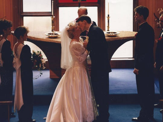 Dale and Lea Goehring on their weddng day, in a photo