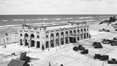The Pavilion at the Indiana Dunes State Park, circa Aug. 18, 1931. State parks officials want to renovate the building, which had once housed a fine-dining restaurant, and add a 17,000-square-foot  addition for a banquet hall on one end.