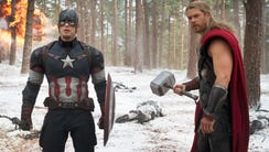 """""""Avengers: Age of Ultron,"""" with Chris Evans, left,"""