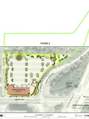 Keystone's Alexander project proposed two phases. The first phase, which was submitted to the city late last year, included a pair of two-story buildings that would house retail, office and restaurant space.