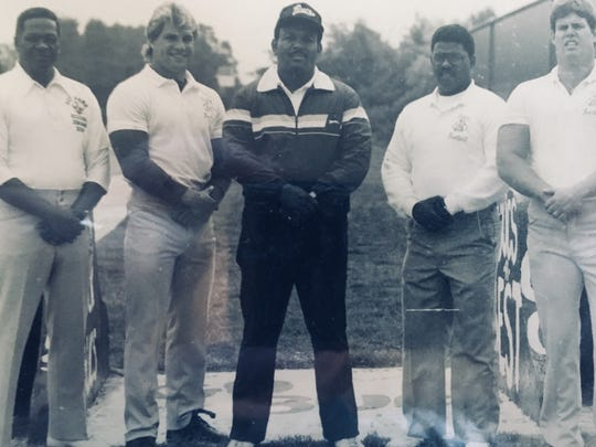 The Red Bank coaching staff in the late 1980s: (left to right) Herb Reed, Bill George, Ty Lewis, Tim Johnson and Barry Sullivan.