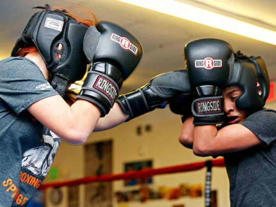 Shilyn Bradt spars with Luis Velasquez at Smitty's