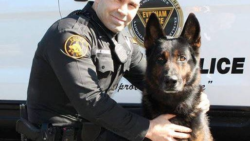 Evesham Police Det. Richard Hernandez with K9 Elias, who died Thursday on Thanksgiving Day in his retirement after serving eight years with the department.