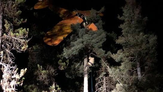 The McCall Idaho fire & EMS responded to a call of a reported plane crash that was hung up in trees.