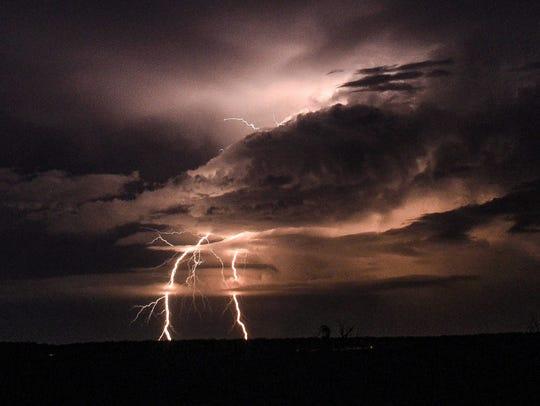 A storm makes its way into Tom Green County from the