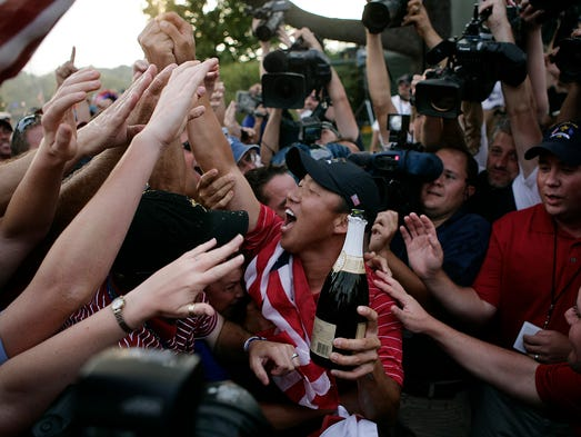 Anthony Kim met the fans at the Valhalla Club House. (By Matt Stone, The Courier-Journal) 9.21.2008