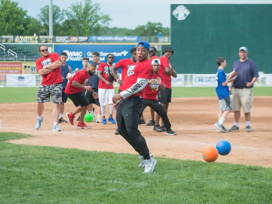 Saquon Barkley (NY Giants Running Back) playing dodgeball.